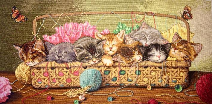 Kitty Litter Dimensions Gold Relax and Stitch Designs Completed Cross Stitch